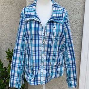 Ralph Lauren Active Blue Plaid Windbreaker Size XL
